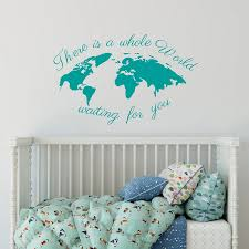 World Map Wall Decal Quote There Is A Whole World Waiting For You Travel Wall Sticker Nursery Kids Room Decor Vinyl Poster X389 Wall Stickers Aliexpress