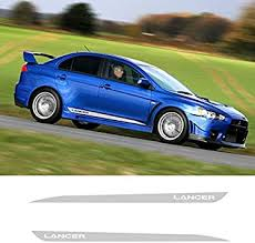 Amazon Com 2 Pcs Vinyl Side Stripes Skirt Graphics Auto Sticker Vehicle Decal For Mitsubishi Lancer Gt Car Styling Gray Automotive