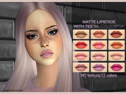matte lipstick with teeth the sims 4