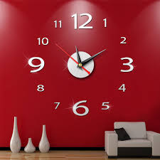 New Fashion Diy Wall Clock Watch 3d Acrylic Art Stickers Decals Modern Home Office Decor Wall Stickers Aliexpress