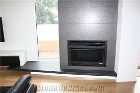absolute black honed granite fireplace