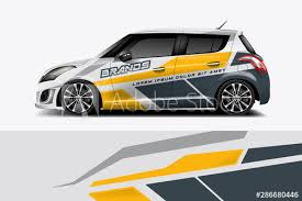 Car Decal Wrap Design Vector Graphic Abstract Stripe Racing Background Kit Designs For Vehicle Race Car Rally Adventure And Livery Eps 10 Wall Mural Funkwrap