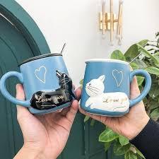 3d Cute Cat Animal Coffee Mug With Lid And Spoon Freakypet