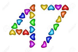 Numero 47 De Corazones De Colores Sobre Blanco Simbolo De Feliz