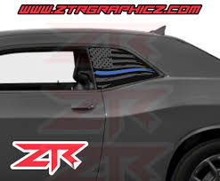 Dodge Challenger Distressed American Blue Line Police Support Flag Win Ztr Graphicz