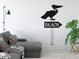 Amazon Com Beach Sign And Pelican Silhouette On Post Vinyl Wall Decal Sticker Graphic Handmade