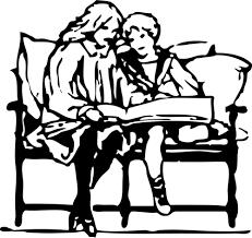 Vector illustration of children reading | Free SVG