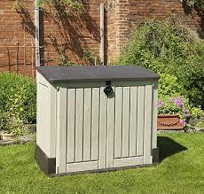 wood effect plastic garden storage box