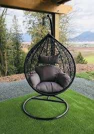 rattan effect garden hanging egg swing