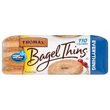thomas bagel thins 13 oz bagels