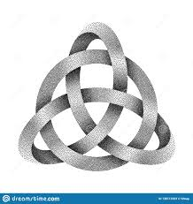 Stippled Knot Triquetra With Circle Made Of Mobius Strip. Vector ...