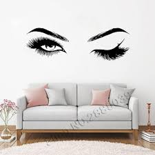 Beautiful Eyes Eyelashes Wall Stickers Makeup Girls Eyes Eyebrows Wall Decor Beauty Salon Style Home Decoration Livingroom Large Wall Transfers Letter Wall Decals From Onlinegame 8 96 Dhgate Com