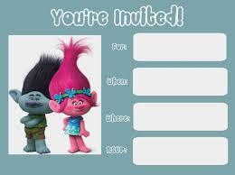Trolls Invite2 Jpg 1600 1192 Con Imagenes Invitaciones De