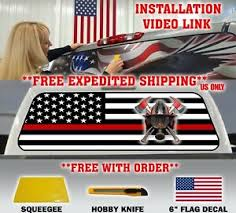Thin Red Line American Flag Firefighter Pickup Truck Rear Window Decal Tent Ebay