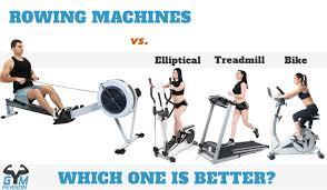 rowing machine vs elliptical trainer vs