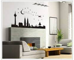 Wall Stickers Yyone Night Scene Of City Plane Moon And Star Black Wall Stickers For Bedroom Or Sofa Or F Cheap Wall Decals Wall Stickers Bedroom Wall Stickers