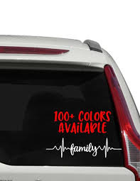 Family Heartbeat Car Decal Heart Beat Decal I Heart Stuff Etsy Car Decals Custom Window Decals In A Heartbeat