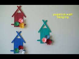 Popsicle Sticks Wall Hanging With Handmade Paper Flower Kids Room Decoration Youtube