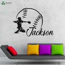 Baseball Personalised Name Vinyl Wall Decal Baseball Wall Stickers Kids Bedroom Sports Wallpaper Home Art Decoration Qq389 Wall Stickers Aliexpress