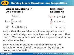 holt algebra solving linear equations
