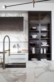 dark brown cabinets with glass doors