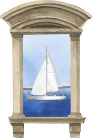 Sailboat Window Nautical Wall Sticker Tenstickers