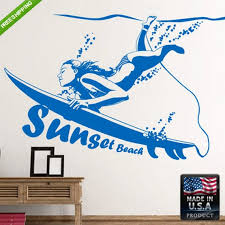 Surfer Wall Decal Surfboard Wall Decals Surfer Wall Stickers Etsy