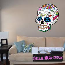 Sugar Skull Wall Decal Wall Fabric Repositionable Decal Vinyl Car Sticker Usc040