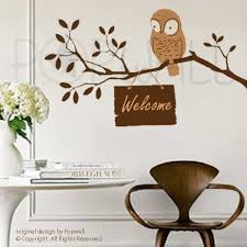 Owl Wall Decal On Tree Branch Wall Decals Wall Sticker Art Etsy