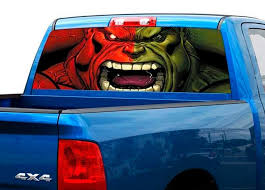 Product Green And Red Hulk Art Rear Window Decal Sticker Pick Up Truck Suv Car