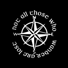 Amazon Com Not All Those Who Wander Are Lost Lotr Compass 6 Vinyl Sticker Car Decal 6 White Automotive