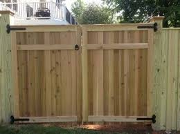 Flat Top Cedar Double Gate By Lions Fence Wood Fence Gate Design Ideas Wood Fence Double Gate Cedar Gates Wood Fence Gate Designs Fence Gate Design Wood Fence
