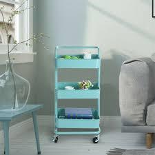 trolley cart 3 tier metal shelving