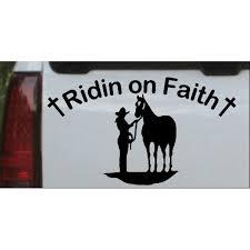 Ridin On Faith Cowgirl And Horse Car Or Truck Window Decal Sticker Walmart Com Walmart Com