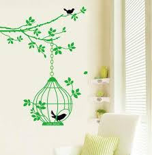 Amazon Com Bibitime Green Branch Tree Hanging Birdcage With 2 Black Birds Wall Decal Sticker Home Decor Decals Home Art Mural Diy Size 55 12 46 46 In Home Kitchen