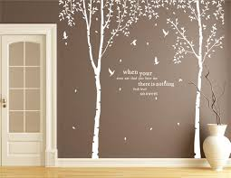 White Brich Tree Decal Nurser Blowing Tree Decal With Flying Birds Living Room Vinyl Thin Large Tree Sticker Removable Tree Wall Decal Wall Art Tree Wall Decal