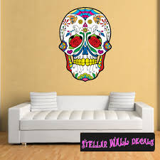 Sugar Skull Wall Decal Wall Fabric Repositionable Decal Vinyl Car Sticker Usc009