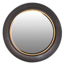 round wall mirror black gold cwt
