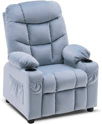 Amazon Com Mcombo Big Kids Recliner Chair With Cup Holders For Boys And Girls Room 2 Side Pockets 3 Age Group Velvet Fabric 7355 Baby Blue Kitchen Dining