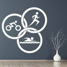 Triathlon Circles Walk Lightweight Athletics Wall Sticker Window Door Vinyl Decal Wish