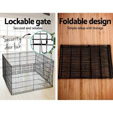 8 Panels Foldable Dog Playpen Crate Metal Fence Pet Puppy Play Pen Exercise Cage Pet Supplies Fences Exercise Pens