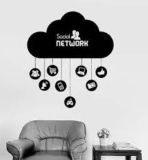 Vinyl Wall Decal Cloud Social Network Computer Technology It Stickers Ig4073 Ebay