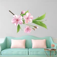 Interior Floral Wall Decal Mural Beautiful Black Flower Branch Wall Decal Interior Pink Flower Branch Wall Murals Primedecals