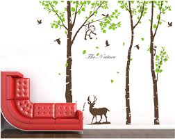 Amazon Com Anber Giant Forest Deer Monkey Bird Tree Wall Decals Vinyl Sticker Kids Nursery Decor Brown And Green Trees Are 72 Inch Tall Home Kitchen
