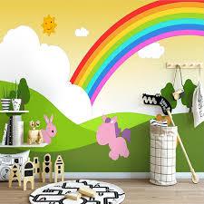 Custom 3d Photo Wallpaper For Kids Room Bedroom Cartoon Hand Painted Rainbow Children Room Kindergarten Decoration Wall Mural Wallpapers Aliexpress