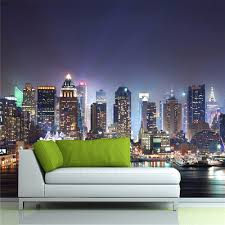 26 Off Wallpaper 448x280 Cm 3d Canvas The Waves Wall Mural Photo Modern Nature City Night Scene Rosegal