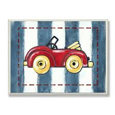 The Kids Room By Stupell Red Convertible On Blue Stripes Rectangle Wall Plaque Walmart Com Walmart Com