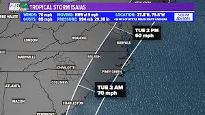 """Iisha Scott on Twitter: """"5 pm update finds #Isaias a bit stronger. Winds up  to 70 mph. Tropical Storm Watches and Warnings expanded across eastern NC &  SC.… https://t.co/qPNU2y3kes"""""""