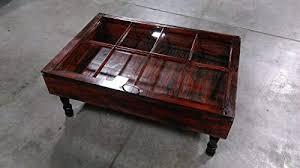 pane window rustic wood coffee table