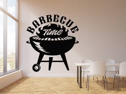 Vinyl Wall Decal Barbecue Time Cooking Bbq Food Grill Menu Bar Sticker Wallstickers4you